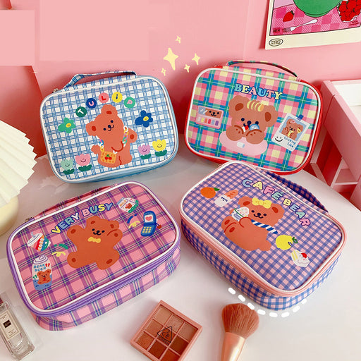Kawaii Japanese Korean cartoon bear canvas bag/handbag daily necessities storage bag