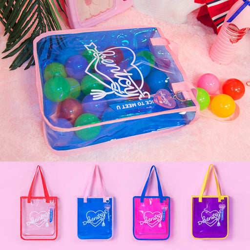 Transparent beach bag original neon moon summer one-shoulder bag in jelly color