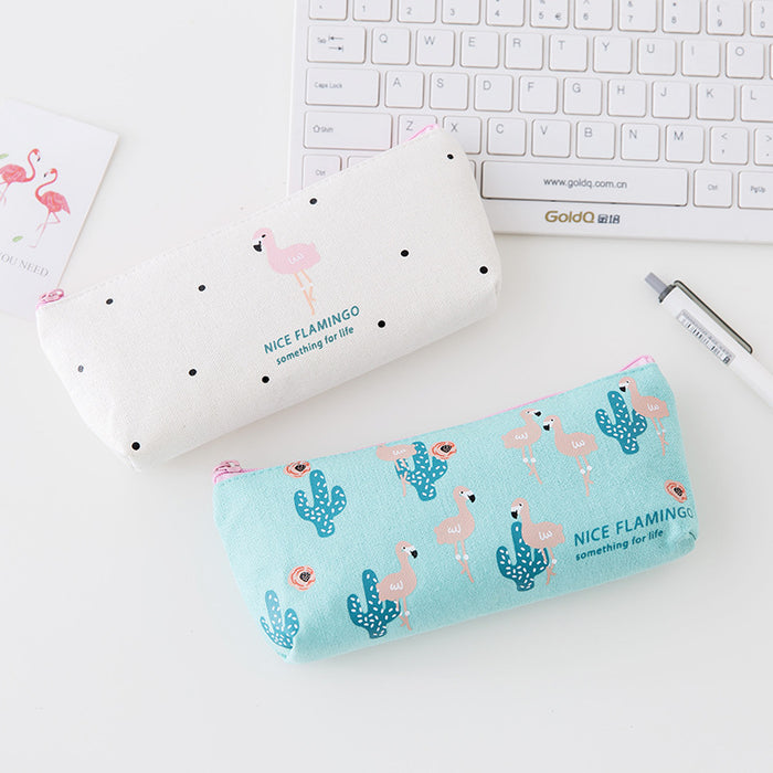 Kawaii Korean Japanese Strawberry Flamingo Lavender Girly Student Pencil Pen Pouch