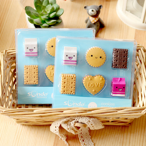 Kawaii  Japanese  Korean Boxed milk cookie eraser set