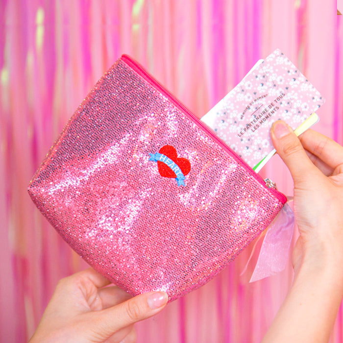 Psychedelic shell makeup bag sequins embroidery harajuku bag ins style girl heart makeup