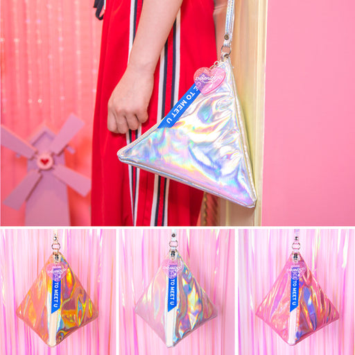 Hypnotic triangle bag laser bright skin triangle hand carry the original sufeng personality dumplings bag