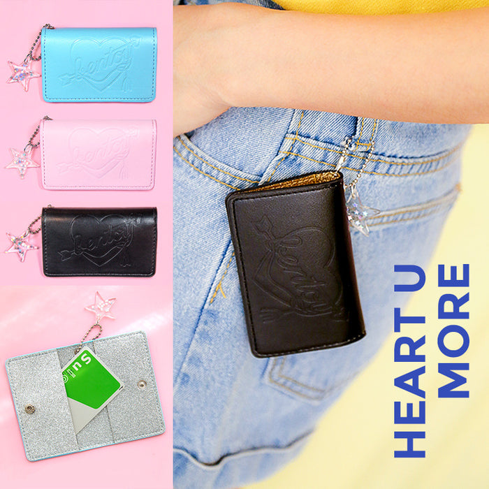 Double fold card bag fresh soft sister bus card set personality eyeye button card bag