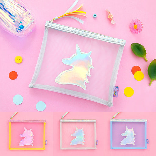 Unicorn gauze cosmetic bag transparent original sufeng received ins wind girl hand bag