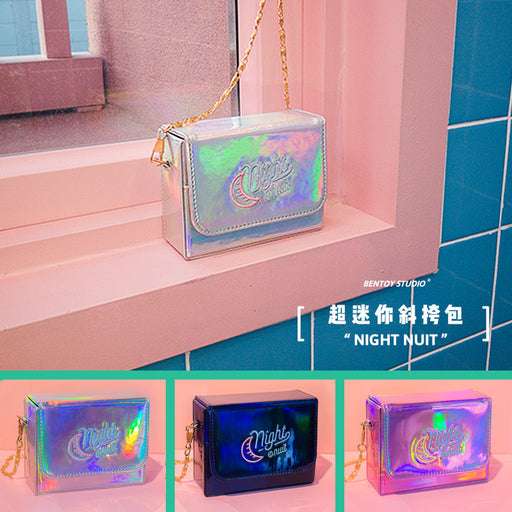 Hypnotic embroidery square chain cross-body bag maiden harajuku stereo change shoulder bag