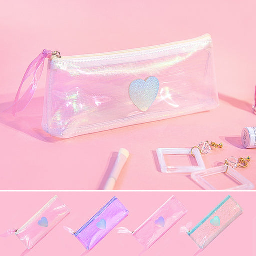 Colorful gauze PVC pen bag literature and art fresh jelly transparent pen bag