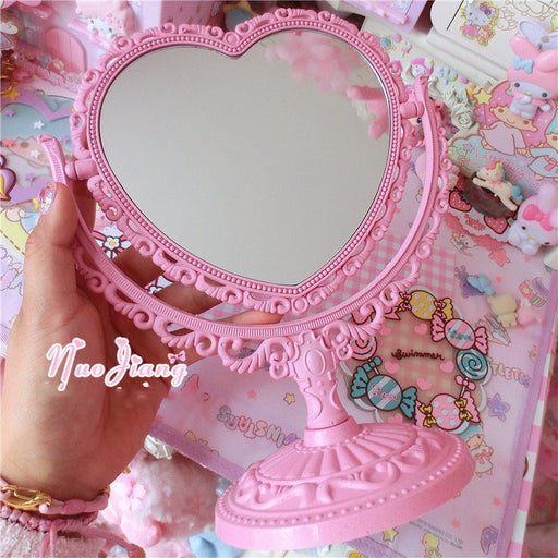 Kawaii  Japanese  Korean  Pink girl heart rotating makeup mirror love lace desktop makeup mirror
