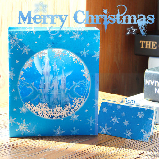 Kawaii Japanese Korean Christmas ice castle 3D stereo handmade box blessing greeting card