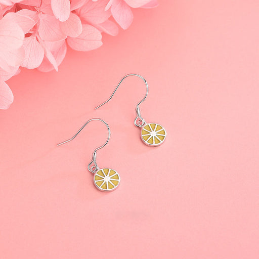 Kawaii  Japanese  Korean  -S925 Sterling Silver Personality Sweet Small Fresh Earrings Lemon Ear Hook
