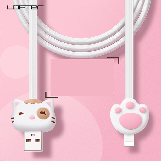 Kawaii  Japanese  Korean  - LOFTER Cute cartoon fast charging 1m noodles Apple 8Plus data cable