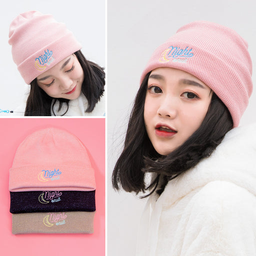 Letters embroidered wool hat versatile warm knit hat roll edge soft sister original sufeng hat