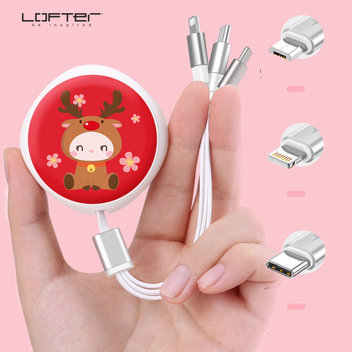 Kawaii  Japanese  Korean   LOFTER Data cable with one for three charging cables Fast charging retractable cable