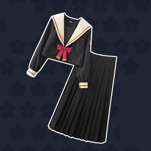 jk uniform skirt Japanese college style bad black long skirt suit