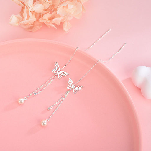 Kawaii  Japanese  Korean  -S925 Sterling Silver Sweet Tassel Hollow Butterfly Earring Earrings