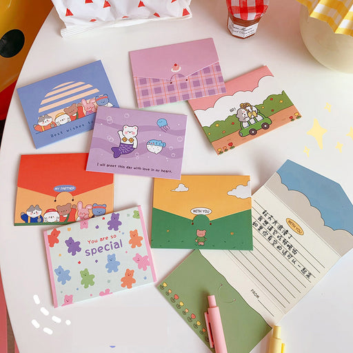 Kawaii  Japanese  Korean -Dailylike Mini Folding Card/Birthday Holiday Wishes Thank You Gift Message Envelope Letter Card