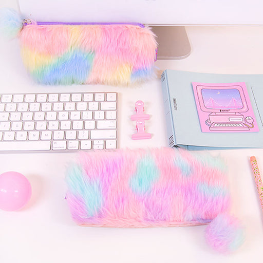 Bangbang rainbow plush pencil bag cute girl fur ball pen bag teen student storage bag