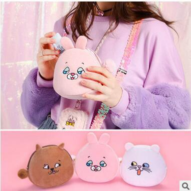Kawaii Korean Japanese Bentoy Squint Animal Shell Harajuku Style Funny Embroidery Clutch  Makeup Bag
