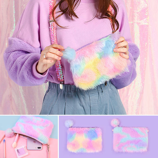 Rainbow plush cross-body bag girls heart shoulder bag original sufeng lovely mobile phone bag