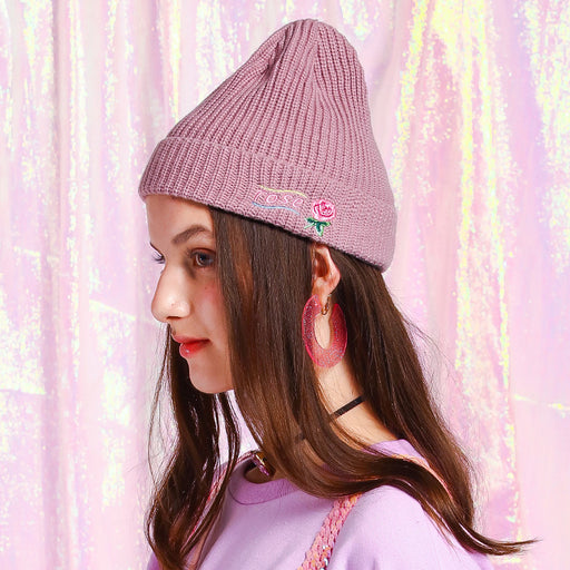 Punk girl rose embroidery hat with warm knit hat original cap