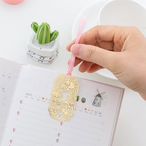 Kawaii Japanese Korean cherry blossom cutout metal mini bookmark