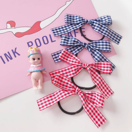 Kawaii  Japanese  Korean  Girly Heart Plaid Bow Hair ring