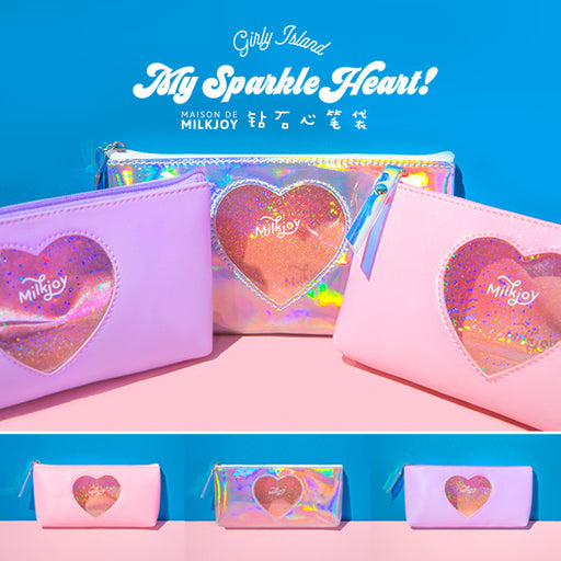 milkjoy diamond love pencil case Japanese girl heart storage