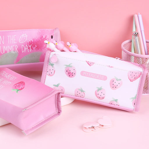 Kawaii  Japanese  Korean Small fresh girl pink strawberry large capacity pencil case/square stationery storage box