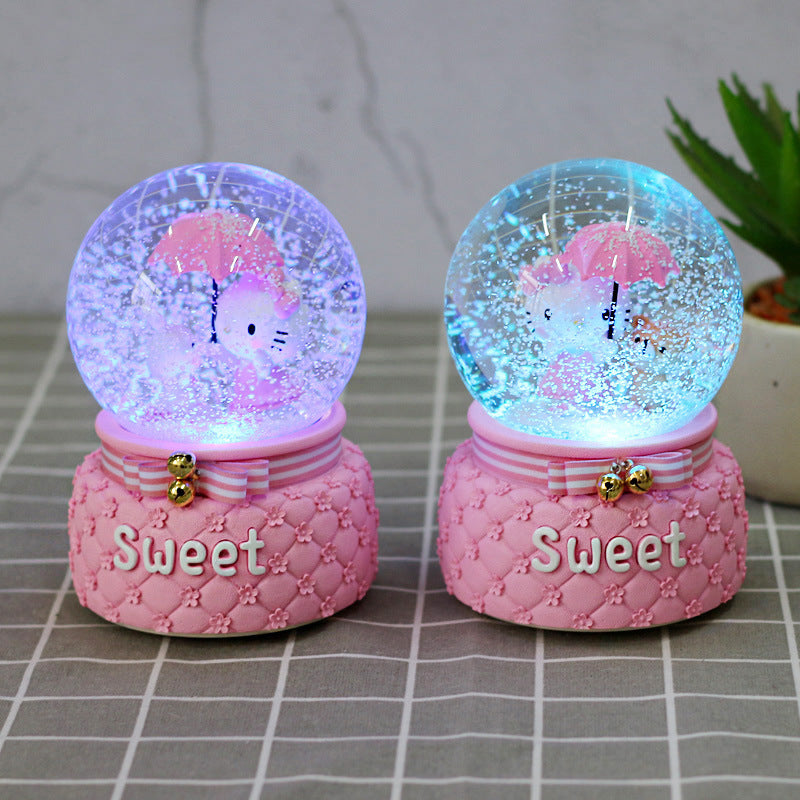 Birthday Gift Anime Peripheral Crystal Rotating Music Box Water Polo Pink Girl Cat Crystal Ball Table Lamp ~ Table Ornaments