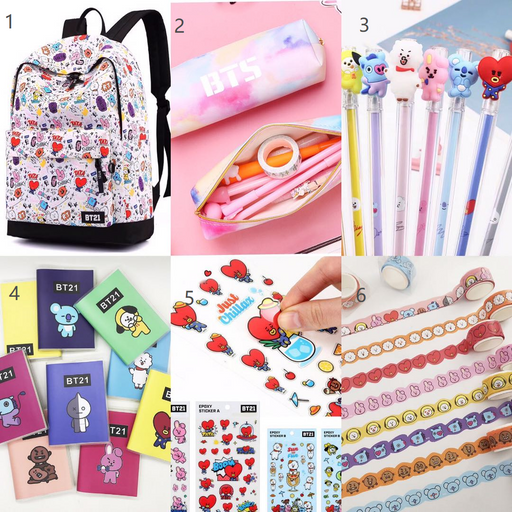 Kawaii Japanese Korean -BT21 Bulletproof Youth Regiment stationery combination spree = BT21 School Box-LB004