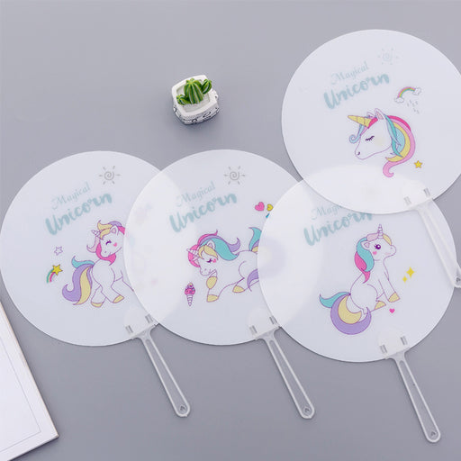 Kawaii Japanese Korean hand-held fan, hand-held fan, mini cool small round unicorn fan