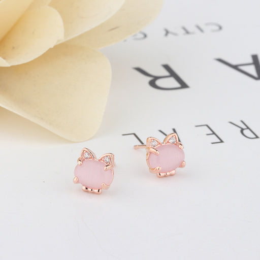 Rose gold pink crystal cat earrings