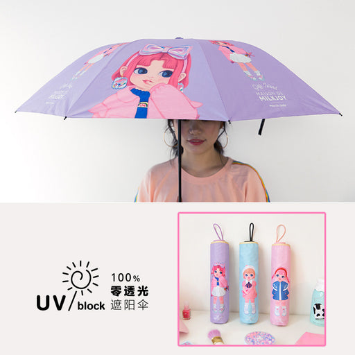 Dolly girl umbrella cartoon vinyl sunshade anti-ultraviolet zero-penetration folding small black umbrella