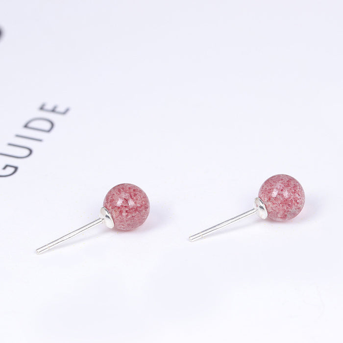 Kawaii  Japaese  Kornean 925 Silver Strawberry Crystal Stud Earrings