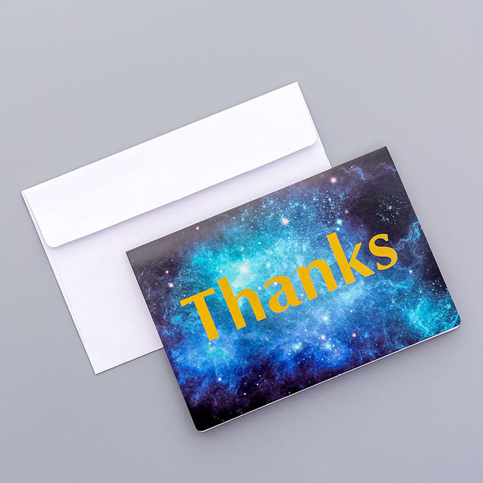 Kawaii  Japanese  Korean  Beautiful starry sky greeting card birthday greeting card valentine's day small fold card message thank you small card