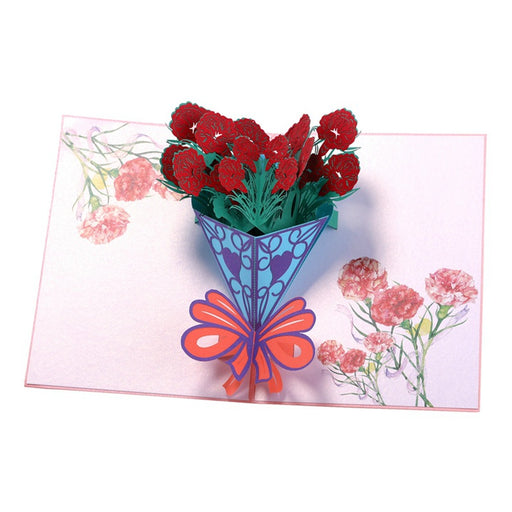 Kawaii Japanese Korean -Three-Dimensional Greeting Card Birthday Wishes Creative 3D Carnation Bouquet Small Card