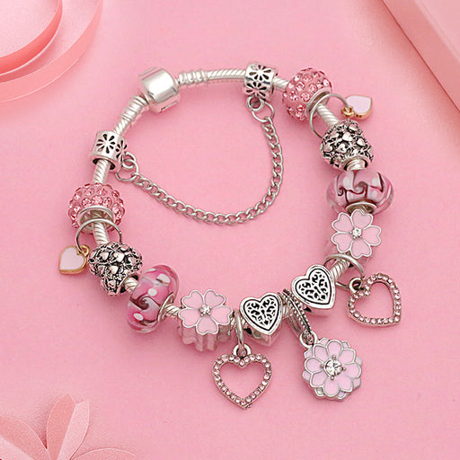 Kawaii  Japanese  Korean  Pink Love Girls Gift Diamond Big Hole Crystal Beaded Flower Bracelet