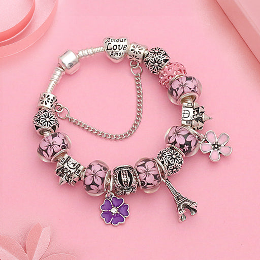 Kawaii  Japanese  Korean  Eiffel Tower Crown Castle Cherry Blossom Pendant Bracelet