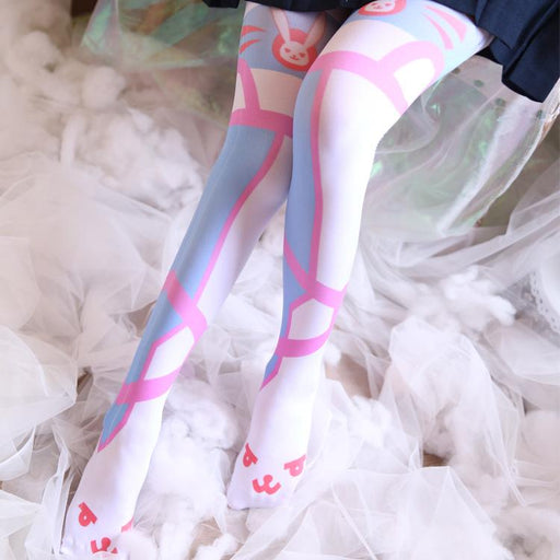 Overwatch Rabbit Bunny Pink Kawaii Tumblr Lolita Cutie Animal Fleece Thigh High Long Socks