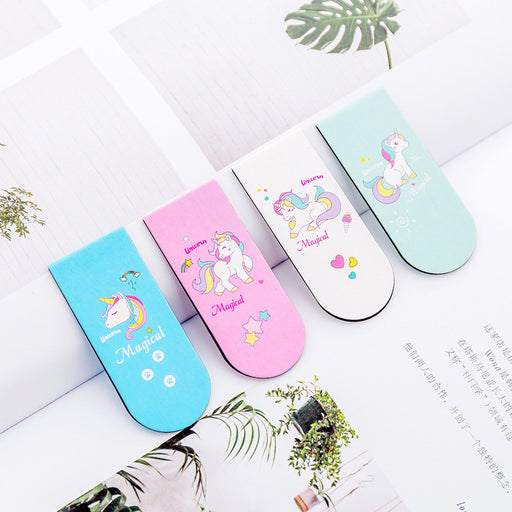 Kawaii  Japanese  Korean  Pink girl heart unicorn magnet bookmark cartoon magnetic bookmark mini book holder flip book holder