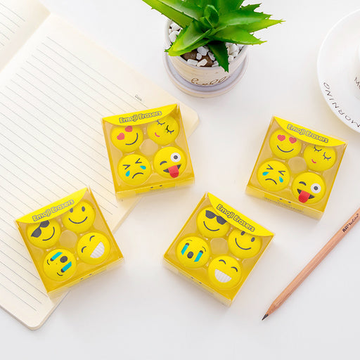 Kawaii  Japanese  Korean  Cute Emoji Boxed Rubber Set