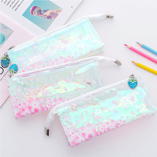 Kawaii Korean Japanese Pink Girl Transparent Laser Reflective Cherry Blossom Sakura Pencil Pouch Bag Cases