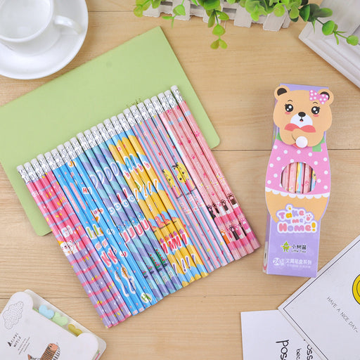 Kawaii  Japanese  Korean  Boxed small sapling pencil set environmental protection HB pencil