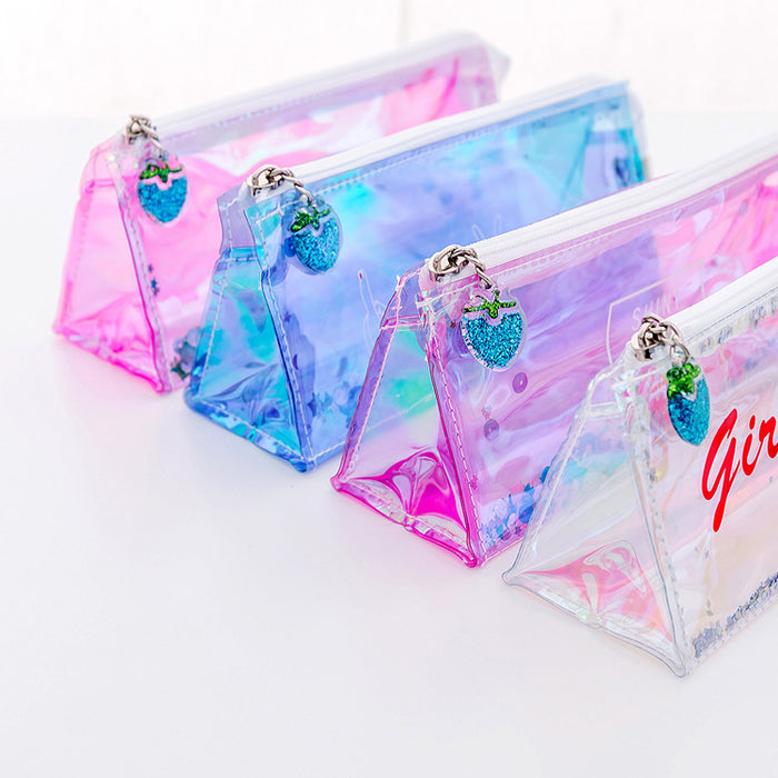 Kawaii Korean Japanese Pink Girl Transparent Laser Reflective Quicksand Pencil Pouch Bag Cases