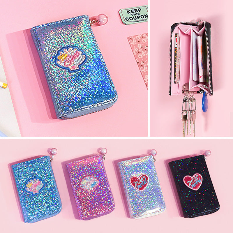Crystal color round corner key package laser patent leather key package colorful laser zero wallet