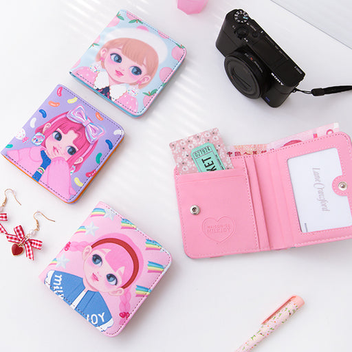 milkjoy cartoon dolly girl portable small wallet