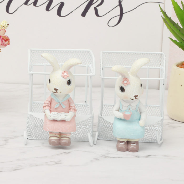 Sensen Rabbit Wrought Iron Sundries Children Gifts Living Ornaments Boutique Pen Holder