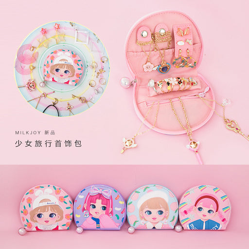 Dolly girls jewelry bag cute cartoon travel jewelry box girl portable jewelry bag