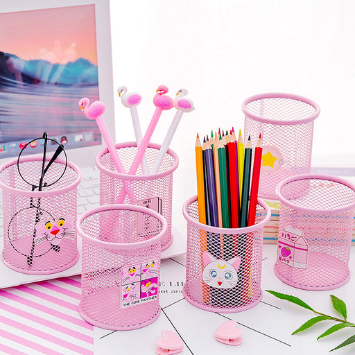 Kawaii  Japanese  Korean  Pink Shaoxing Cartoon Desktop Round Debris Stationery Storage Tube Pen Holder
