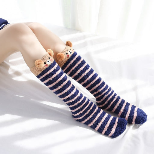 Cartoon Striped Lolita Plus Velvet Thick Socks