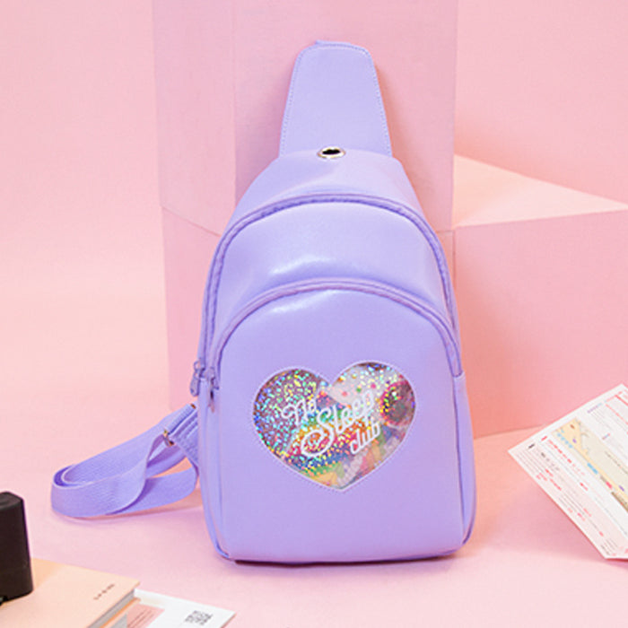 Kawaii Korean Japanese Milkjoy Diamond Love Girl Chest Fresh And Transparent Multi-Layer Messenger Shoulder Bag
